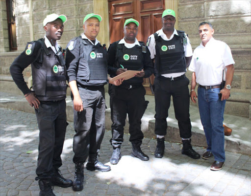 Cape Town Central City security patrol officers with Muneeb Hendricks, CCID Safety and Security Manager PHOTO:Supplied