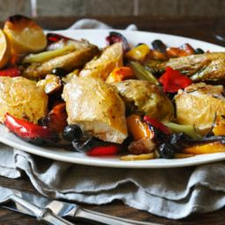 Italian Roast Chicken With Peppers And Olives.
