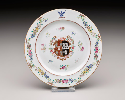 White Porcelain Plate with Floral Border and Coat of Arms