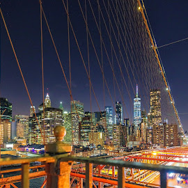 Manhattan View by Carol Ward - City,  Street & Park  Skylines ( lights, brooklyn bridge, manhattan, new york city, new york, bridge, nyc, bridgeview, brooklyn )