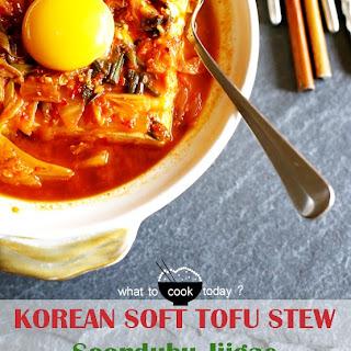 Korean soft tofu with kimchi stew (Soondubu Jjigae) 4 servings