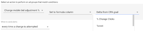 The Select a formula column only displays formula columns in your advertiser that return the type of value appropriate for the setting you
