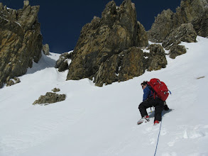 Photo: TJ approaching the gully.  The solar radiation became a concern at this point.