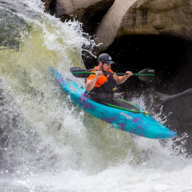 Plunge Ready by Kevin Frick - Sports & Fitness Watersports ( waterfall, west virginia, kayak )
