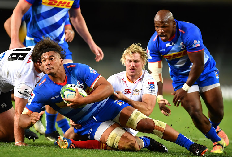 Juarno Augustus of the Stormers during the Super Rugby Unlocked match between DHL Stormers and Toyota Cheetahs at DHL Newlands on November 14 2020 in Cape Town.