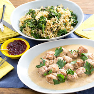 Swedish-Style Turkey Meatballs with Egg Noodles & Lingonberry Jam.