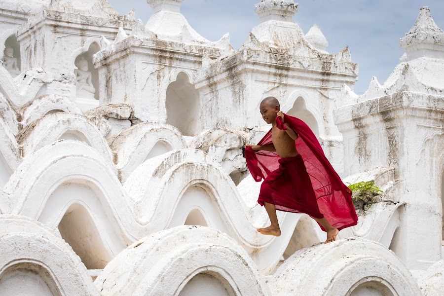 Leaping Monk by Joe Messina - Travel Locations Air Travel ( mandalay, myanmar, monk, leaping, se asia )