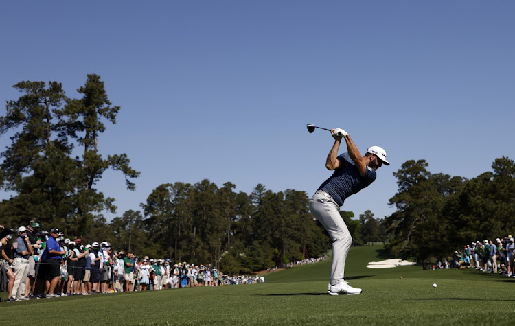 Dustin Johnson of the US hits his tee shot on the 8th hole at the Augusta National Golf Club in Georgia, the US, April 5 2021. Picture: REUTERS/MIKE SEGAR