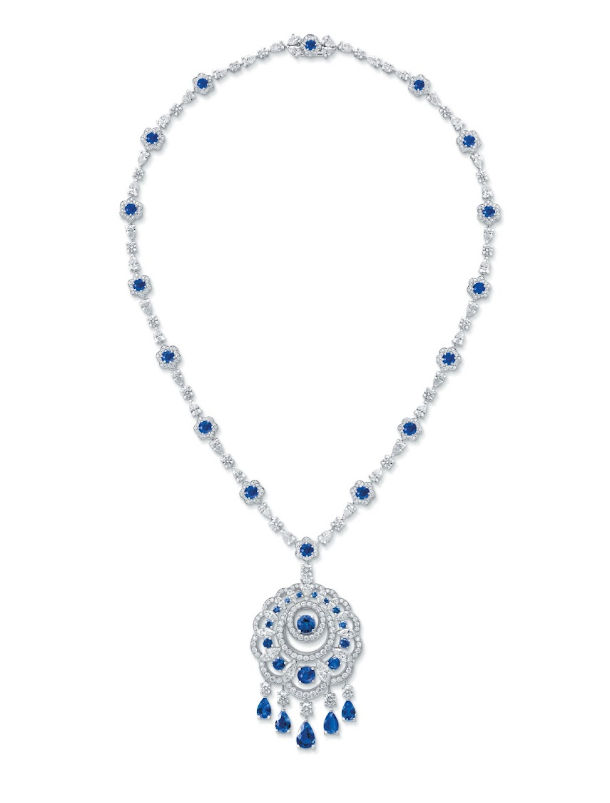 Diamond and sapphire pendant from the Graff Diamonds Sunburst Collection
