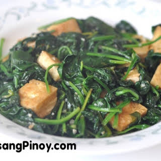 Sauteed Spinach with Tofu.