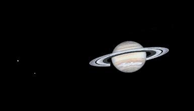 Photo: Saturne en couleurs et avec sa tempête, le 16 janvier 2011 à 5H50 TU. Rhéa et Dioné sont visibles à gauche. Observation au T406 à 350X en bino.