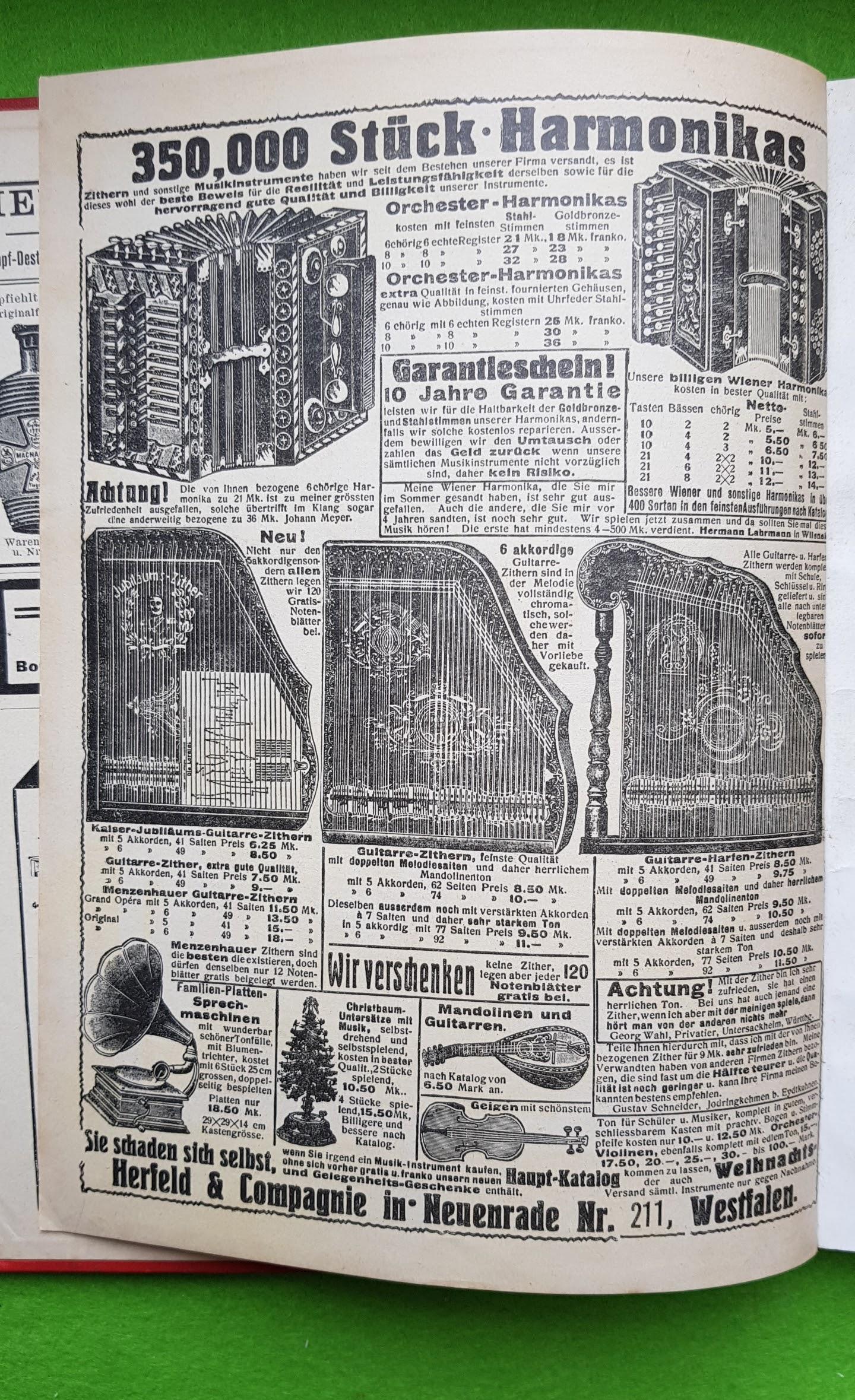 Großer Volkskalender des Lahrer hinkenden Boten - 1914 - Werbung Harmonikas