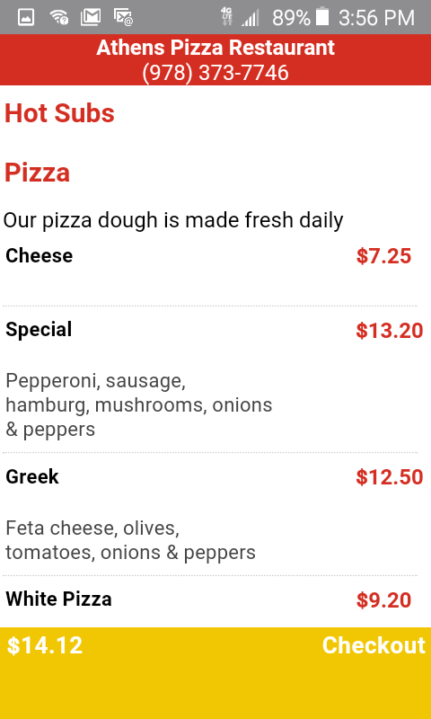 Athens Pizza Haverhill- screenshot