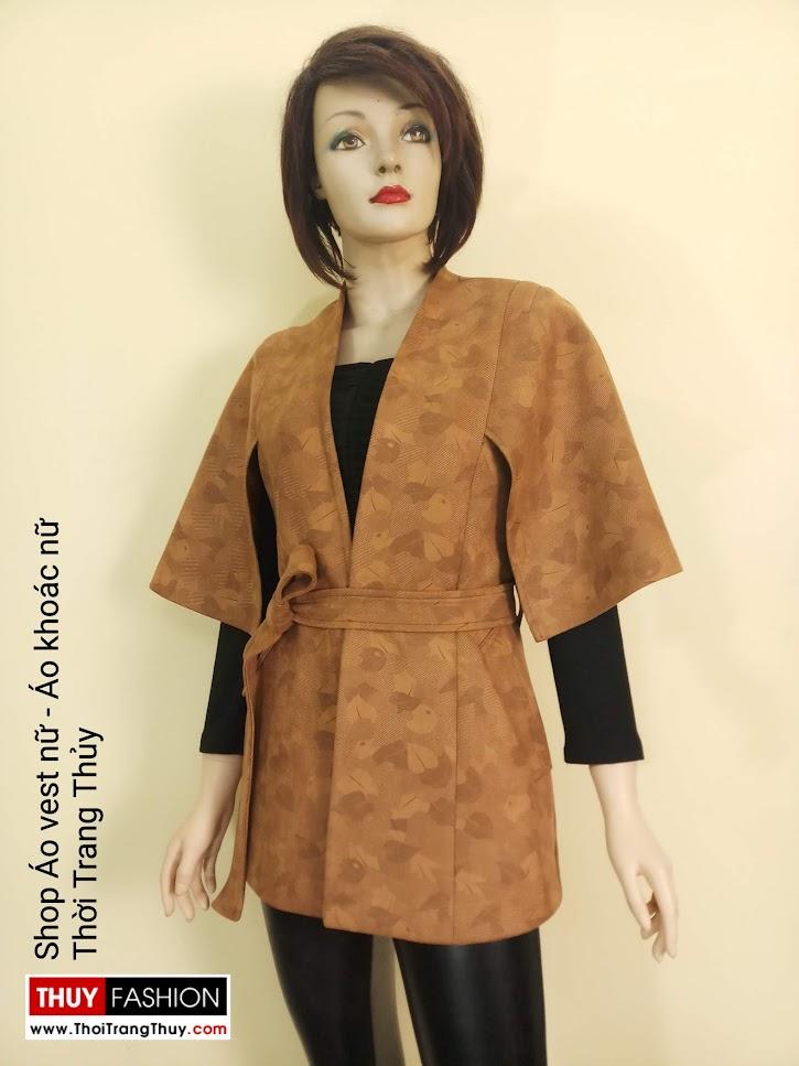 Áo khoác Cape nữ cổ chữ V vải da lộn V668 tại sai gòn