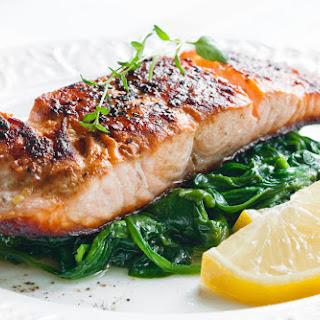 Roasted Salmon with Sauteed Greens.
