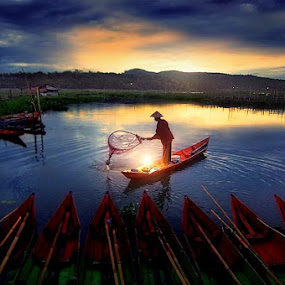 fisherman swamp at morning by Tiz Brotosudarmo - People Professional People ( #GARYFONGDRAMATICLIGHT, #WTFBOBDAVIS,  )