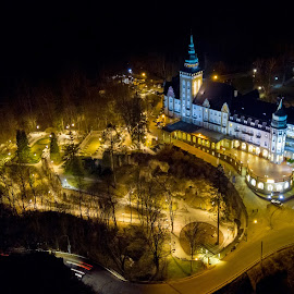Hunguest Hotel Palota Lillafüred by Róbert Sulyok - City,  Street & Park  Night ( palace, lillafüred, night, drone, hungary )