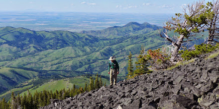 Photo: Highwood Baldy - The Sweet Grass Hills are on the left horizon.