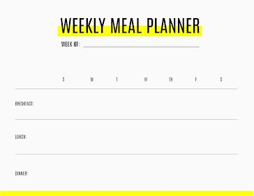 Weekly Meals Highlight - Planner template