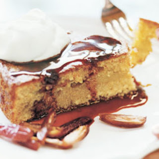 Olive Oil Couscous Cake with Crème Fraîche and Date Syrup.