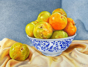 Photo: Janie Pirie : Golden Plums in a Chinese Bowl : 18 x 23cm