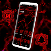 Red Electric Wave Launcher Theme