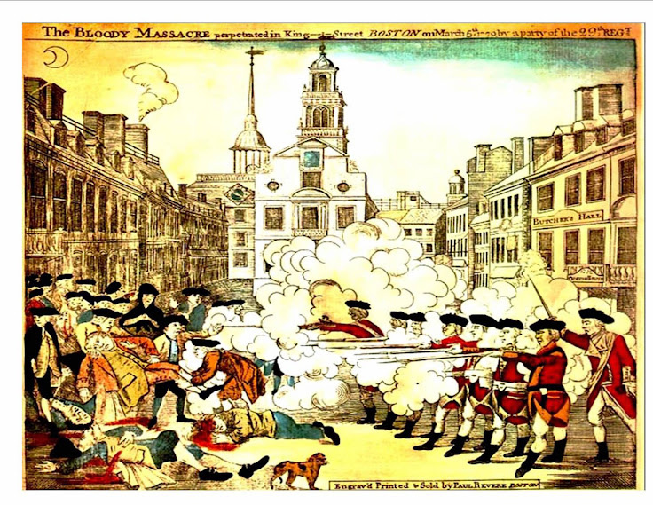 "Paul Revere's 1770 engraving ""The Bloody Massacre Perpetrated in King Street."""
