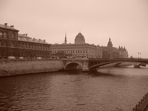 Photo: Across the Seine, with the delicate spire of Sainte Chapelle in the background.