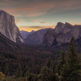 Yosemite Vista by Drew Campbell - Landscapes Sunsets & Sunrises