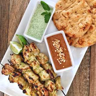 Murgh Malai Tikka - Tandoori Chicken Kebabs with Dipping Sauces.