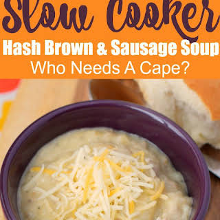 Creamy Slow Cooker Hash Brown & Sausage Soup.