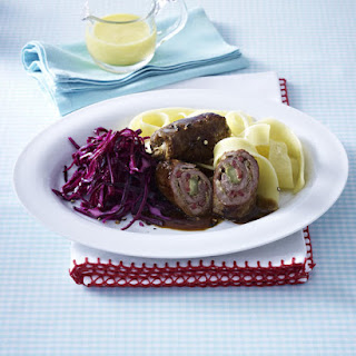 Mini Beef Roulades with Red Cabbage Salad and Tagliatelle