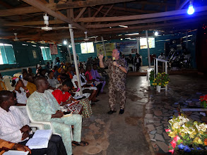 Photo: Ministering at the local church. The outfit I have on is a Nigerian outfit and was a gift from Pastor Sunday.