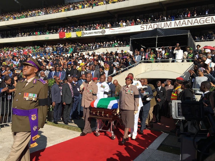 The coffin arrives at Orlando Stadium for Winnie Madikizela-Mandela's funeral.