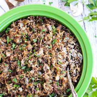Creamy Wild Rice Casserole with Sausage and Mushrooms.