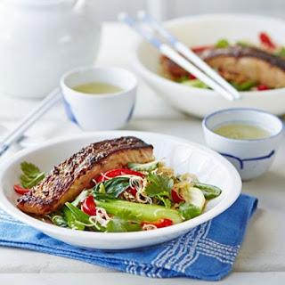 Crispy Asian Salmon with Stir-Fried Noodles, Pak Choi & Sugar Snap Peas Recipe