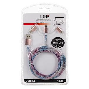 Cablu de incarcare 3 in 1, MicroUSB C - 8 pini, Rainbow Glitter