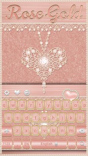 Rose Gold Keyboard Diamond Heart Theme 10001003 screenshots 3