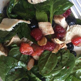 Triple Berry Chicken Almond Spinach Salad