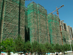 Photo: Apartment construction, Gansu 2008 August.  Can you say 'Cristo'?