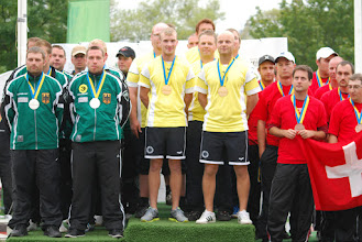 Photo: The podium mens team competition. Germany (silver), Sweden (gold) and Switzerland (bronze). Photo: Patric Fransson