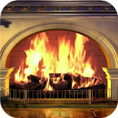 Stone fireplace. LiveWallpaper