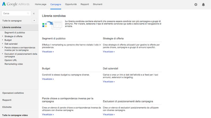Libreria Condivisa Google Adwords