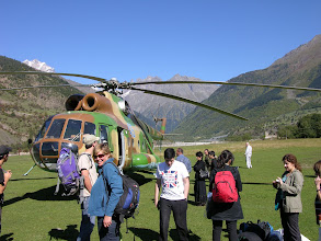 Photo: Our helicopter after arrival in Svaneti
