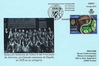 Photo: Tarjeta con el matasellos Primer día de Circulación del sello del Centenario de la Federación Asturiana de Fútbol. Matasellos de rodillo de Oviedo pero que sólo se matasella en Madrid