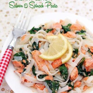 Creamy Lemon Salmon & Spinach Pasta