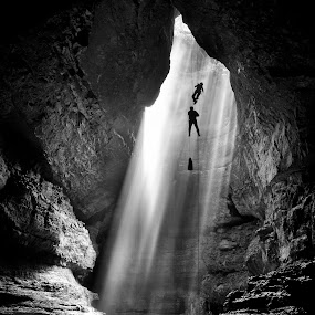 Into the Abyss by Alabama Photos - Landscapes Mountains & Hills ( b/w, climb, caver, cave, rappel )