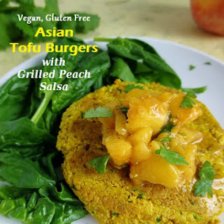 Vegan and Gluten Free Asian Tofu Burgers with Chili-Lime Grilled Peach Salsa.
