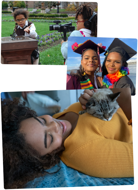 Visual collage featuring Cami growing up. From left to right:  Cami and sister, Mica, as children with ice cream cones, Cami and Mica as children recording each other with a film camera, Cami resting on her bed holding a cat, Cami at the kitchen table, Cami and Mica in graduation caps and gowns.
