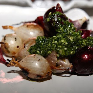 Roasted Onions with Parsley Pesto #SundaySupper.